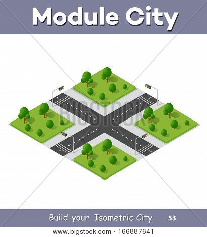 City streets intersection of the transport system. Isometric view from the roads and streets. Three-dimensional view of the town.