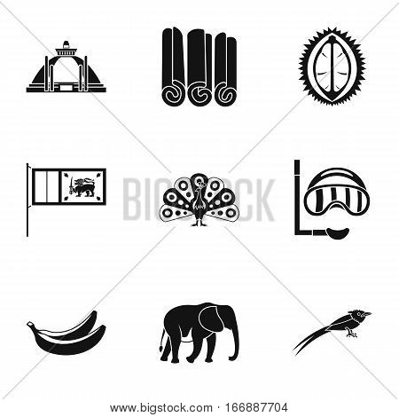 Holiday in Sri Lanka icons set. Simple illustration of 9 holiday in Sri Lanka vector icons for web