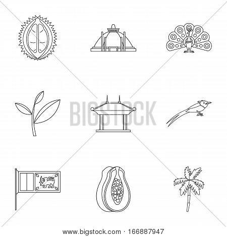 Sri Lanka icons set. Outline illustration of 9 Sri Lanka vector icons for web