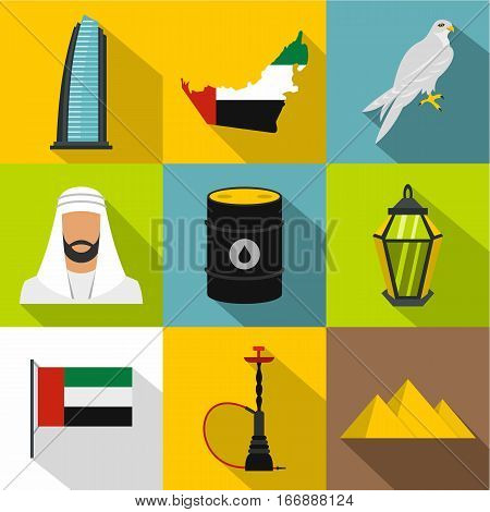 UAE country icons set. Flat illustration of 9 UAE country vector icons for web
