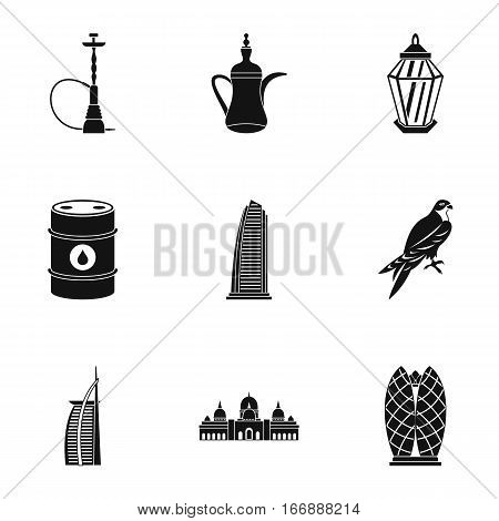 UAE icons set. Simple illustration of 9 UAE vector icons for web