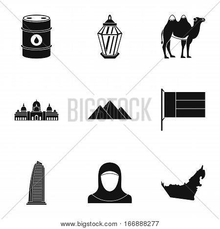 Stay in UAE icons set. Simple illustration of 9 stay in UAE vector icons for web