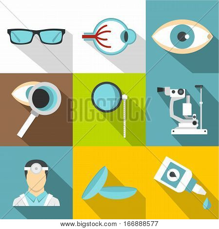 Treatment vision icons set. Flat illustration of 9 treatment vision vector icons for web