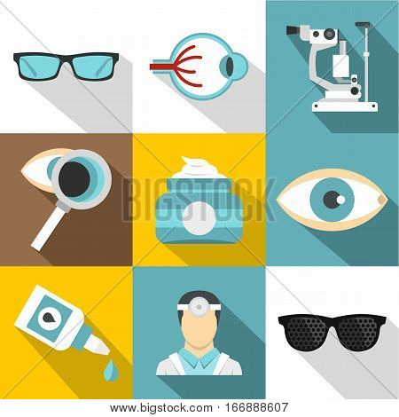 Eyes icons set. Flat illustration of 9 eyes vector icons for web