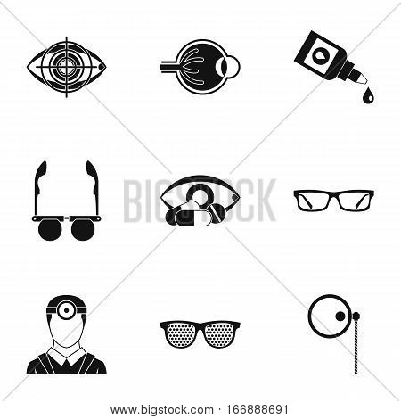 Ophthalmology icons set. Simple illustration of 9 ophthalmology vector icons for web