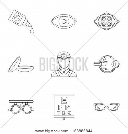 Treatment vision icons set. Outline illustration of 9 treatment vision vector icons for web