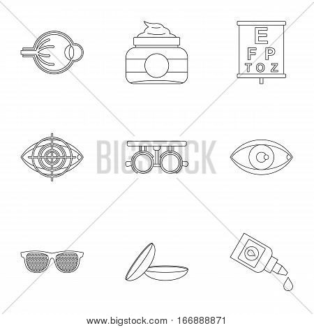 Eye exam icons set. Outline illustration of 9 eye exam vector icons for web