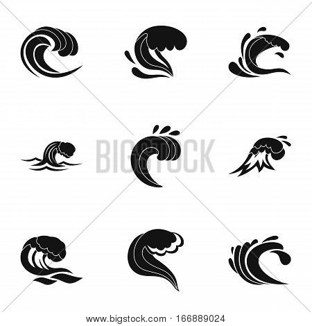 Sea waves icons set. Simple illustration of 9 sea waves vector icons for web