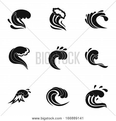 Tsunami icons set. Simple illustration of 9 tsunami vector icons for web