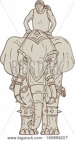 Drawing sketch style illustration of a war elephant with mahout rider riding viewed from front set on isolated white background.