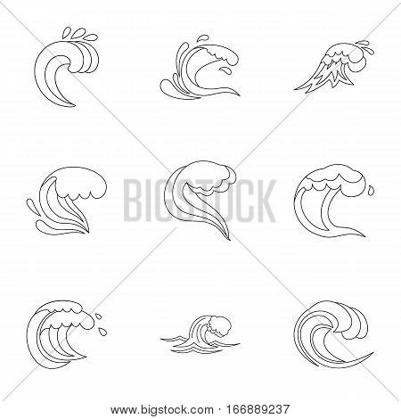 Sea waves icons set. Outline illustration of 9 sea waves vector icons for web