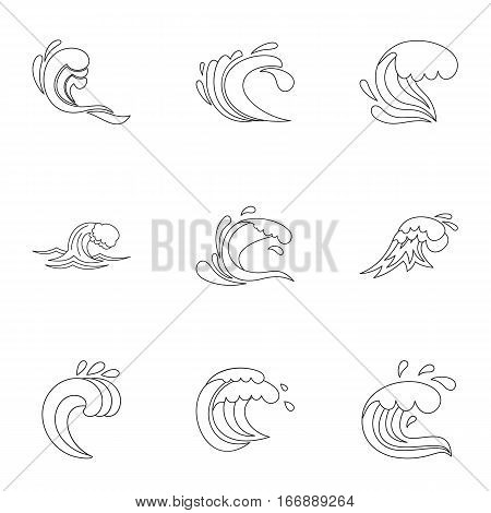 Ocean waves icons set. Outline illustration of 9 ocean waves vector icons for web