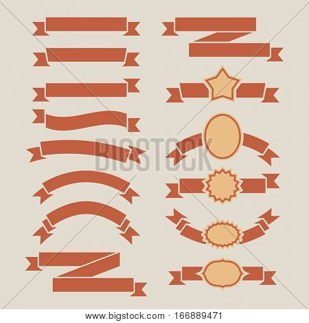 Vintage red plain banners set isolated on beige background.