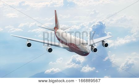 Passenger airplane in the sky. Jumbo jet