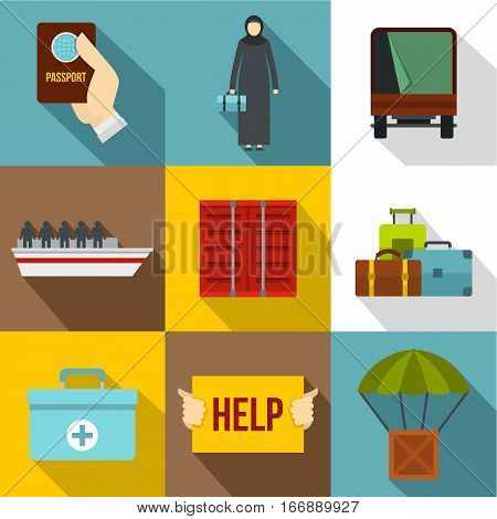 People refugees icons set. Flat illustration of 9 people refugees vector icons for web