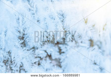 beautiful hoarfrost frozen winter ice and snow nature background