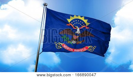 north dakota flag, 3D rendering, on a cloud background