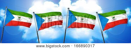 Equatorial guinea flag, 3D rendering, on cloud background