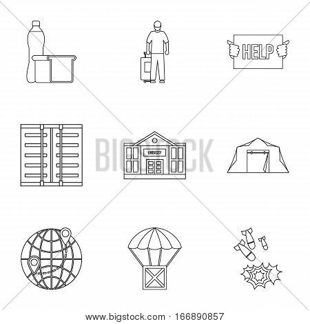 People fugitives icons set. Outline illustration of 9 people fugitives vector icons for web