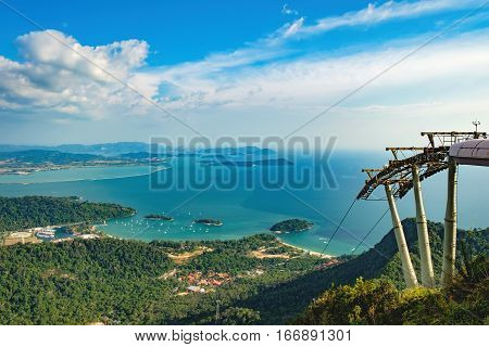 Cable Car to the top of Langkawi island and panoramic view of blue sky sea and mountain Malaysia. Langkawi SkyCab is one of the major attractions in the island