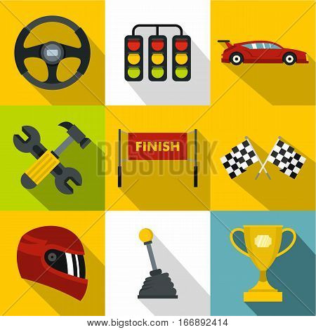 Speed cars icons set. Flat illustration of 9 speed cars vector icons for web