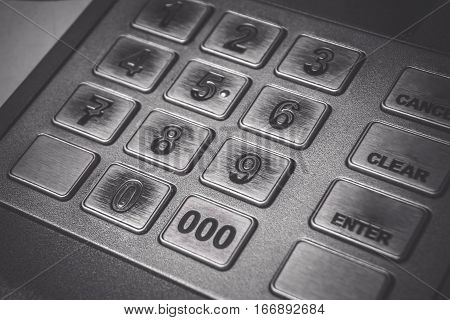 Close up ATM EPP machine keyboard or buttons of Automated Teller Machine (Cash Machine).