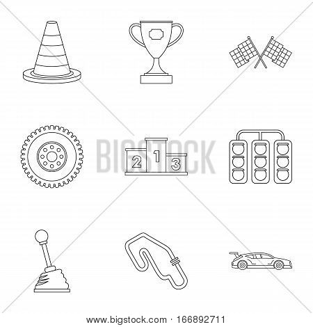 Speed race icons set. Outline illustration of 9 speed race vector icons for web