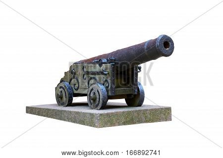 old cannon at fortress wall, isolated on white