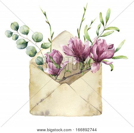 Watercolor old envelope with spring greenery, eucalyptus and magnolia. Hand painted floral card with flower, silver dollar eucalyptus and herbs on white background. For design, print or fabric