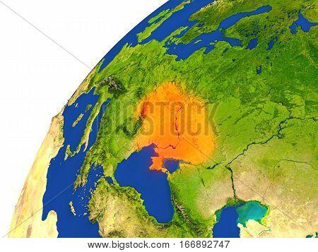 Country Of Ukraine Satellite View