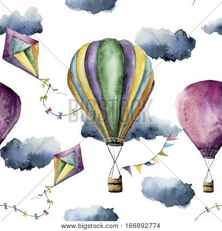 Watercolor pattern with hot air balloon and kite. Hand drawn vintage kite, air balloons with flags garlands, clouds and retro design. Illustrations isolated on white background.