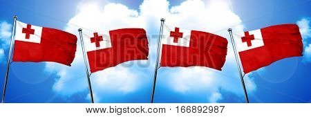 Tonga flag, 3D rendering, on cloud background
