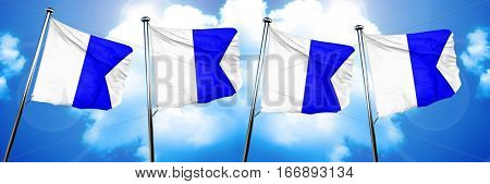 Alpha maritime signal flag, 3D rendering