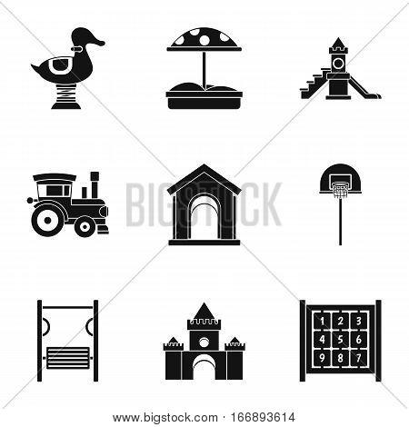 Children entertainment icons set. Simple illustration of 9 children entertainment vector icons for web
