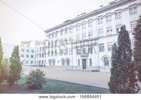 Exterior of modern school building