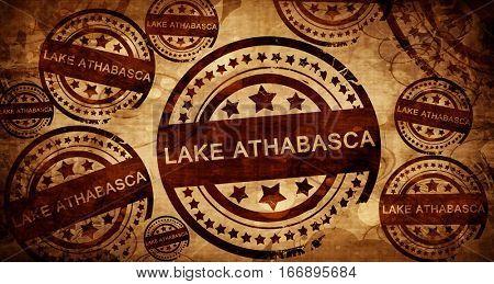 Lake athabasca, vintage stamp on paper background