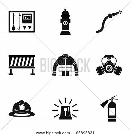 Fiery profession icons set. Simple illustration of 9 fiery profession vector icons for web