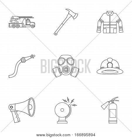 Firefighter icons set. Outline illustration of 9 firefighter vector icons for web