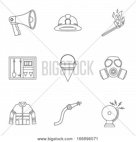 Burning icons set. Outline illustration of 9 burning vector icons for web