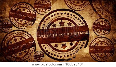 Great smoky mountains, vintage stamp on paper background