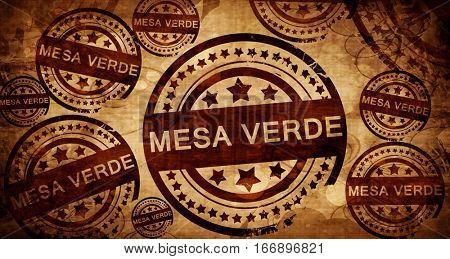 Mesa verde, vintage stamp on paper background