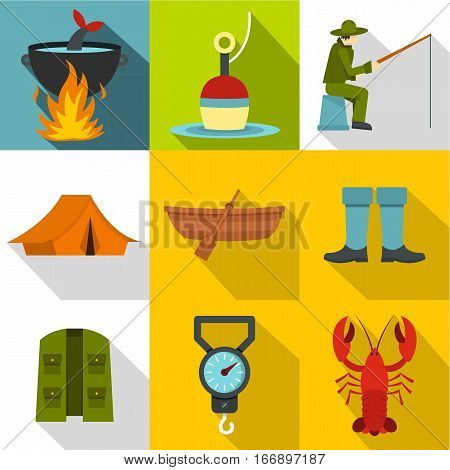 Angling icons set. Flat illustration of 9 angling vector icons for web