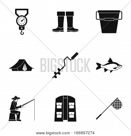 Angling icons set. Simple illustration of 9 angling vector icons for web