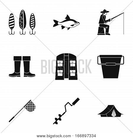 Fishing sport icons set. Simple illustration of 9 fishing sport vector icons for web