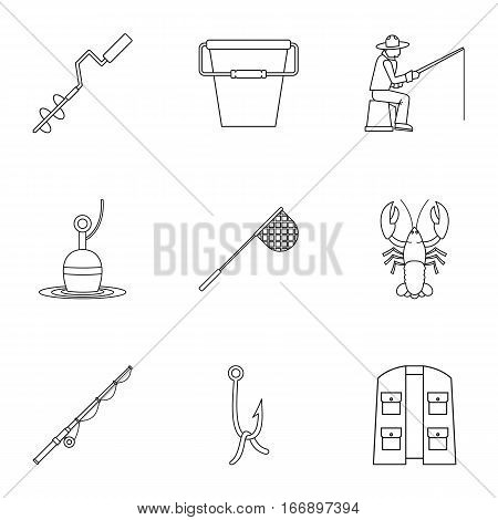 Angling icons set. Outline illustration of 9 angling vector icons for web