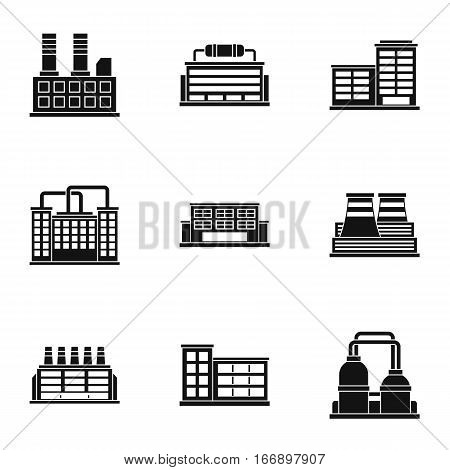 Production plant icons set. Simple illustration of 9 production plant vector icons for web