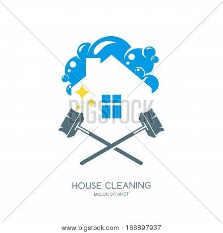 Cleaning Service Vector Logo, Emblem Or Icon Design Template. Clean House And Mops Isolated Illustra