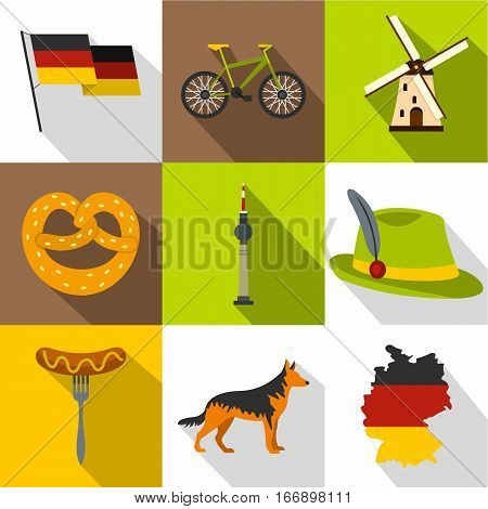 Germany icons set. Flat illustration of 9 Germany vector icons for web