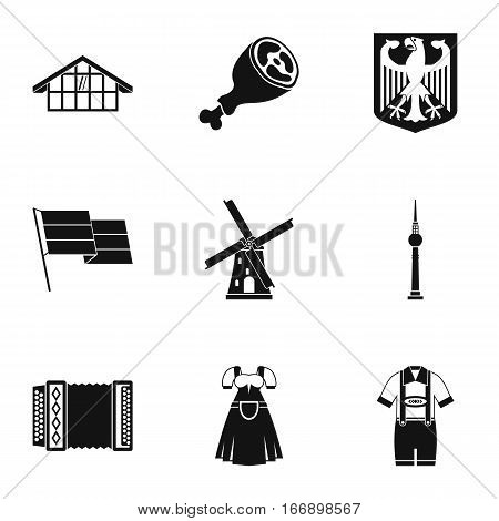 Country Germany icons set. Simple illustration of 9 country Germany vector icons for web
