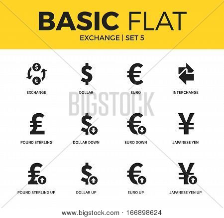 Basic set of dollar down, dollar up and yen up form icons. Modern flat pictogram collection. Vector material design concept, web symbols and logo concept.